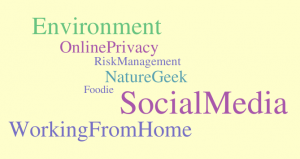 Online privacy, environment, foodie, nature geek, social media, working from home
