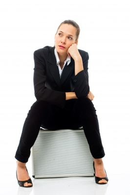 """Woman Sitting On Briefcase"" by Ambro 