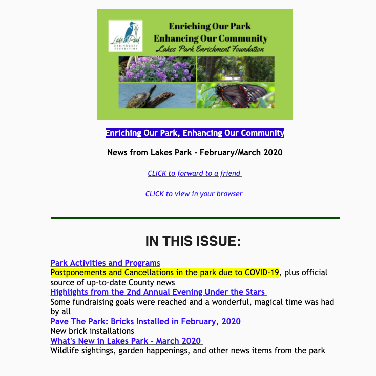 News from Lakes Park February-March 2020
