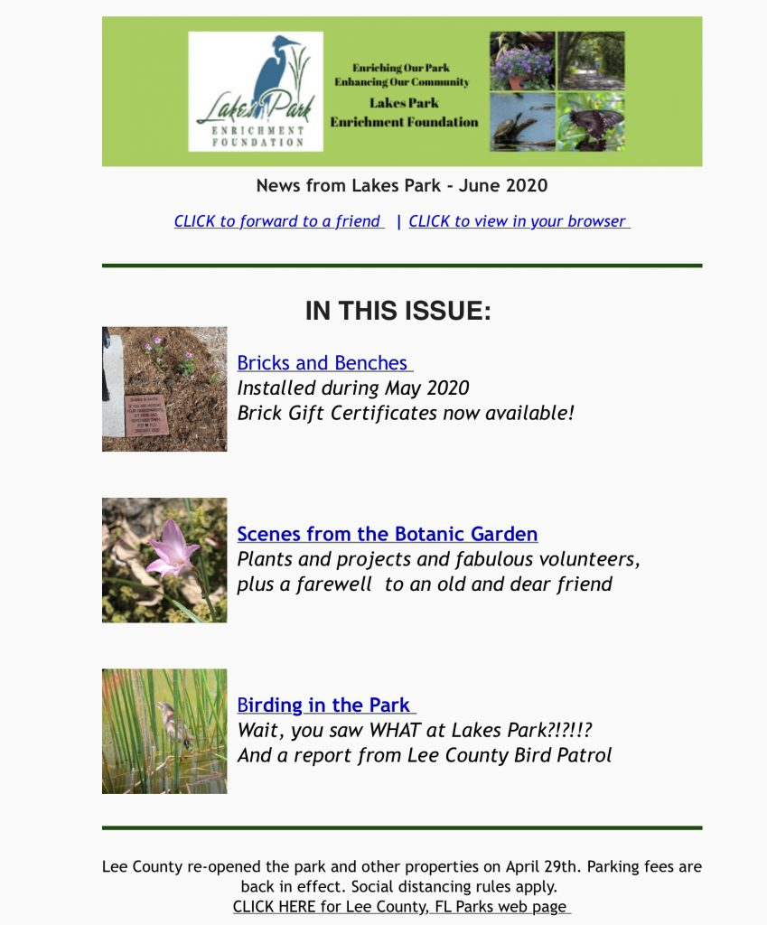 News from Lakes Park June 2020 graphic