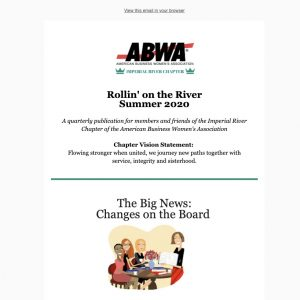 Rollin' on the River - Summer 2020 - ABWA Imperial River Chapter email newsletter