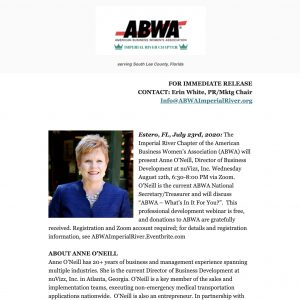 ABWA Imperial River Chapter August 2020 meeting PRESS RELEASE